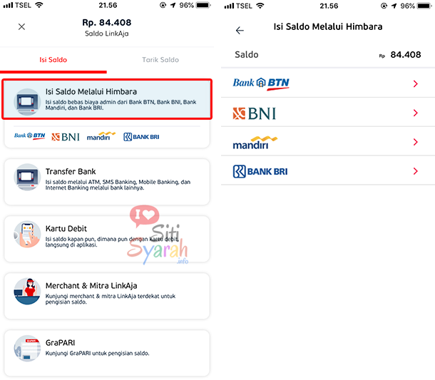 cara top up atau isi saldo linkaja via sms dan internet banking
