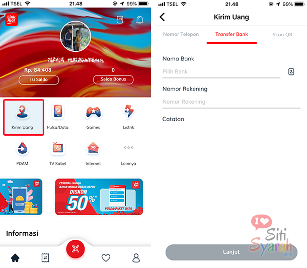 cara transfer linkaja ke rekening bank lain