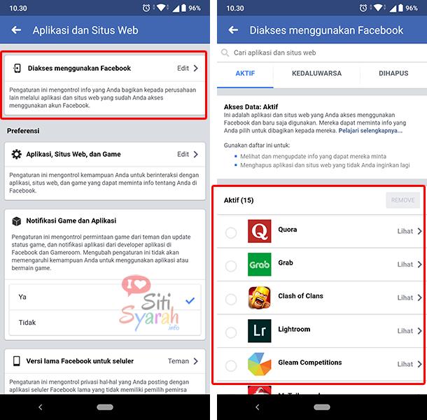 cek aplikasi dan game yang terhubung facebook
